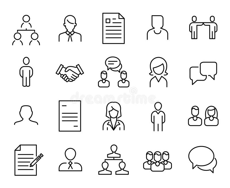 Simple collection of recruitment related line icons. royalty free illustration