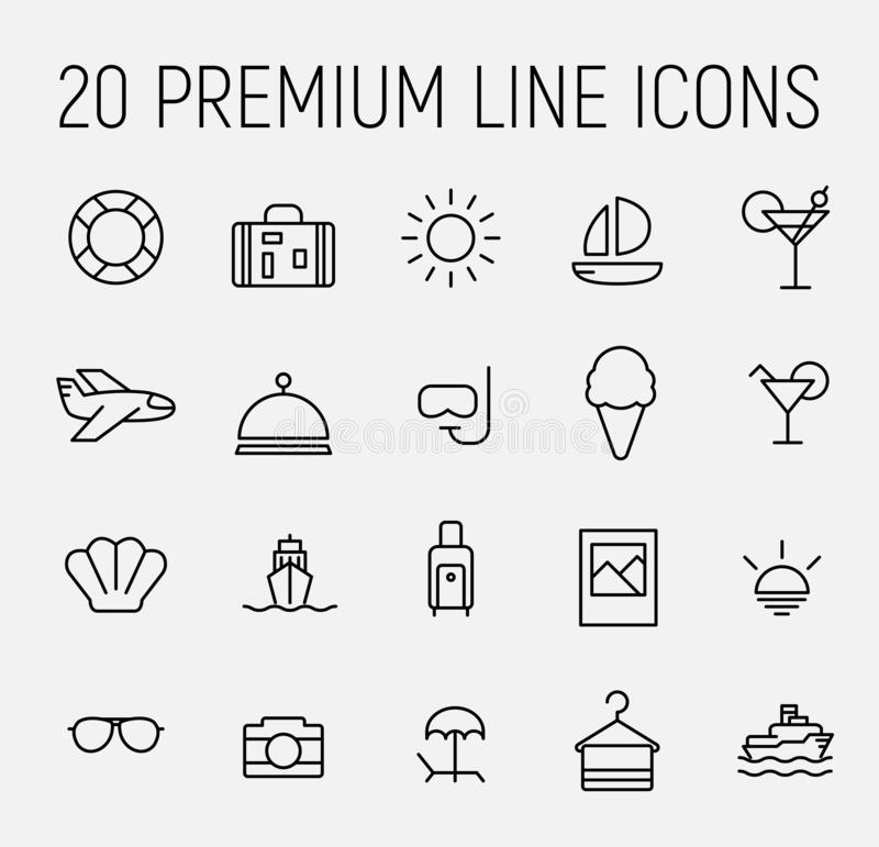 Simple collection of room service related line icons. royalty free illustration