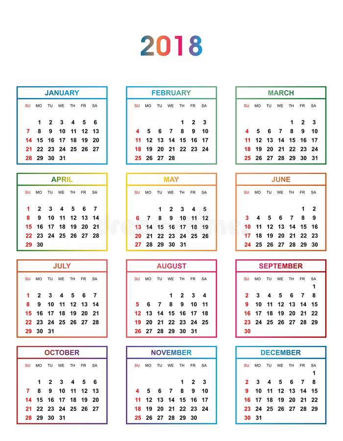 Calendar Year Names : Simple color calendar for the year names of days