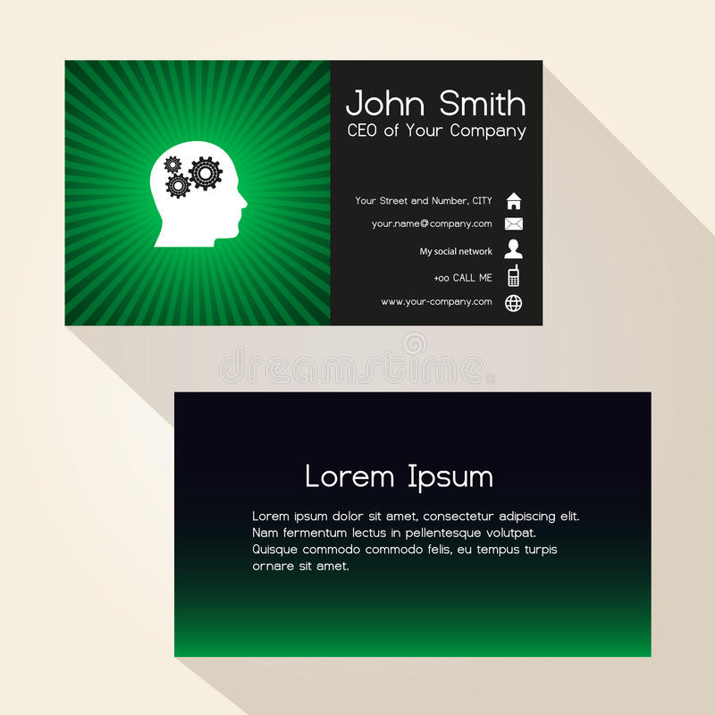 Simple color gradient and stripes wheel green business card design eps10 vector illustration