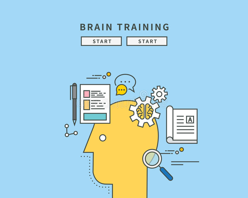 Simple color line flat design of brain trainning, modern illustration vector illustration