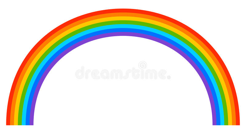Simple 7-color rainbow element on white. Royalty free vector illustration stock illustration