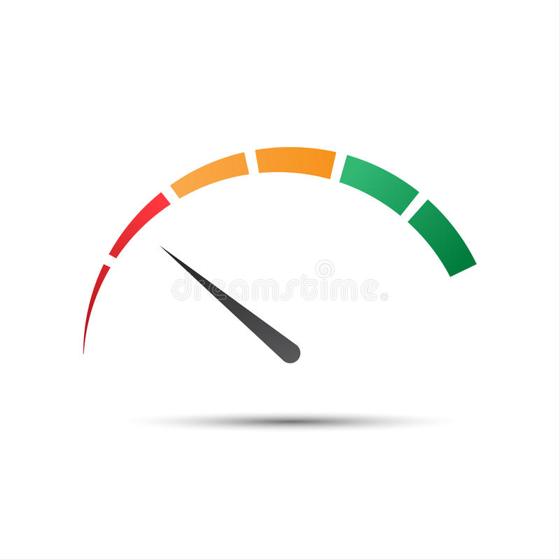 Simple color tachometer with a pointer in the minimum red part royalty free illustration