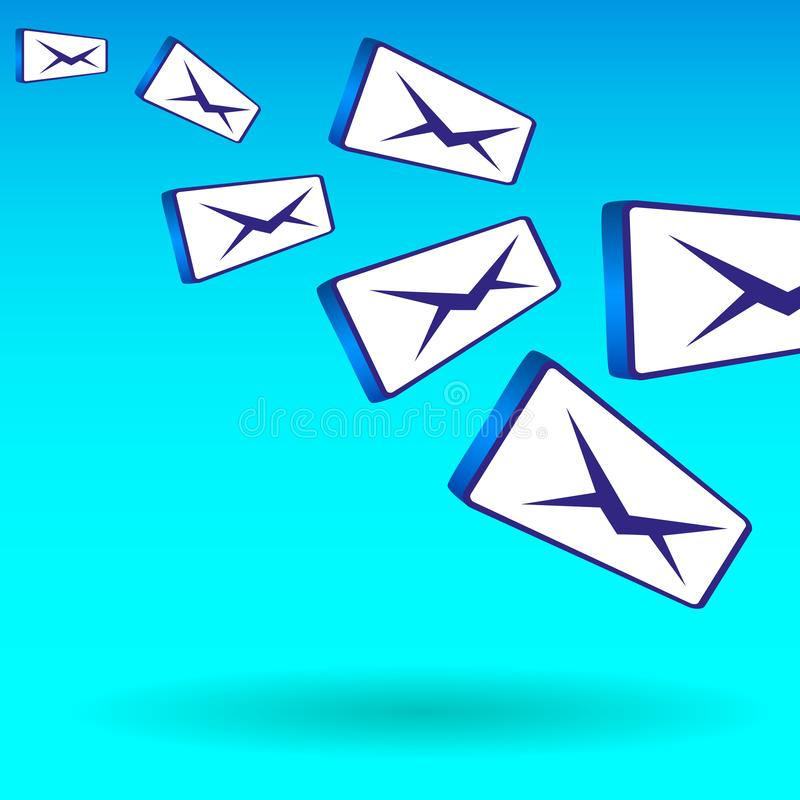 Simple colorful illustration of the flying of bulk mail messages stock illustration