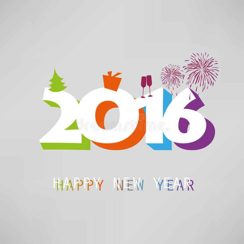 Simple Colorful New Year Card, Cover Or Background Design Template ...