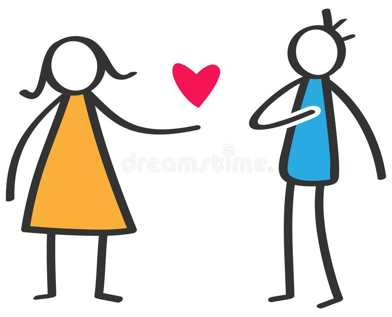 Simple colorful stick figure woman giving love red heart to man isolated on white background, declaration of love royalty free illustration