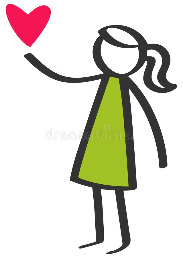 Simple colorful stick figure young girl giving love red heart isolated on white background royalty free illustration