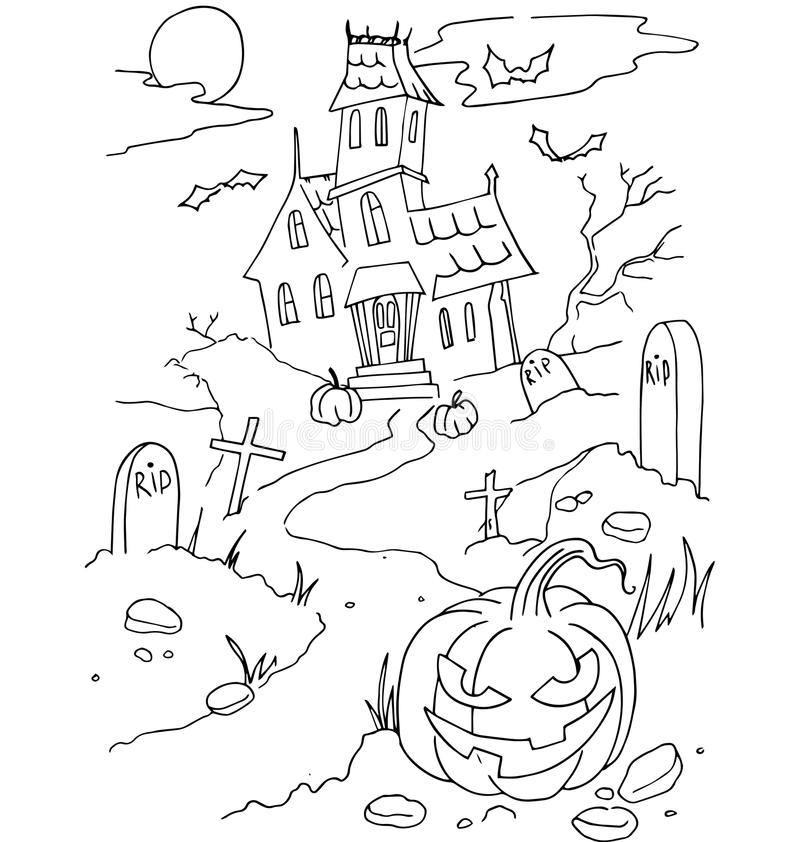 The Simple Coloring For Halloween Theme Made By Hand ...