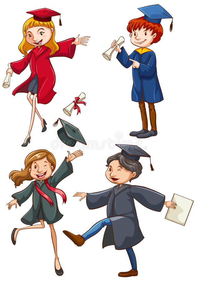 A simple coloured sketch of the graduates royalty free illustration