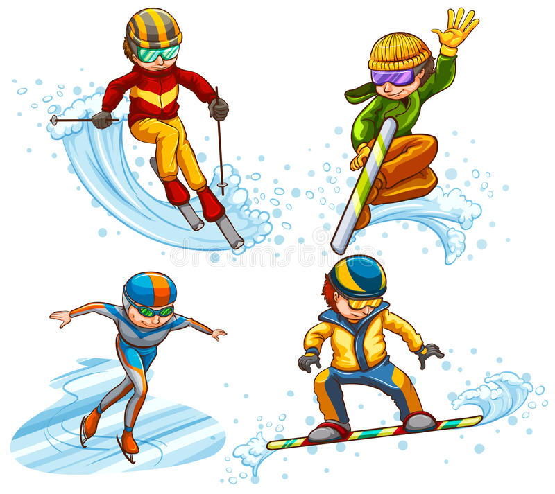 A simple coloured sketch of people skating stock illustration