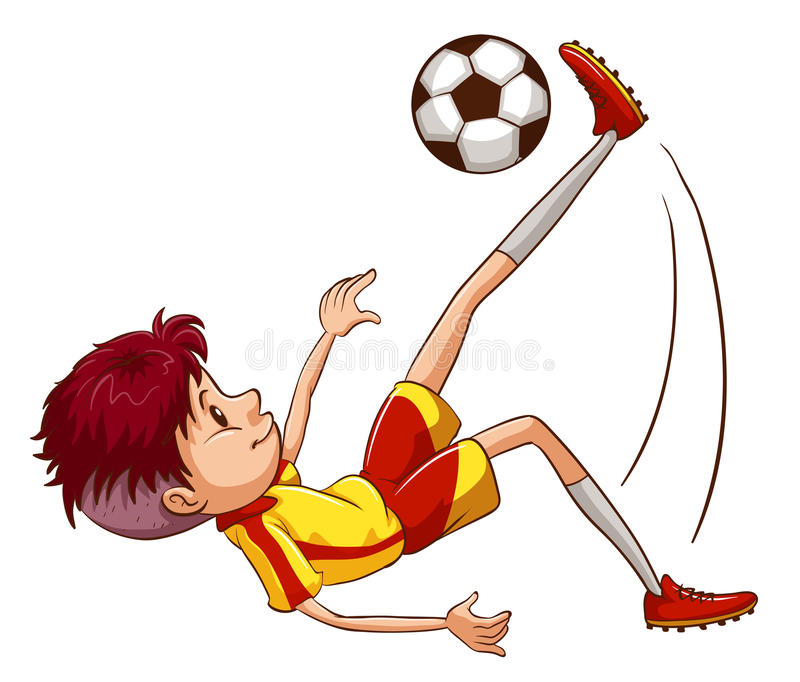A simple coloured sketch of a soccer player royalty free illustration