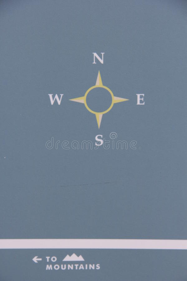 Simple Compass North South East West To Mountains. Simple Compass North South East West with direct instruction arrow to Mountains royalty free stock images