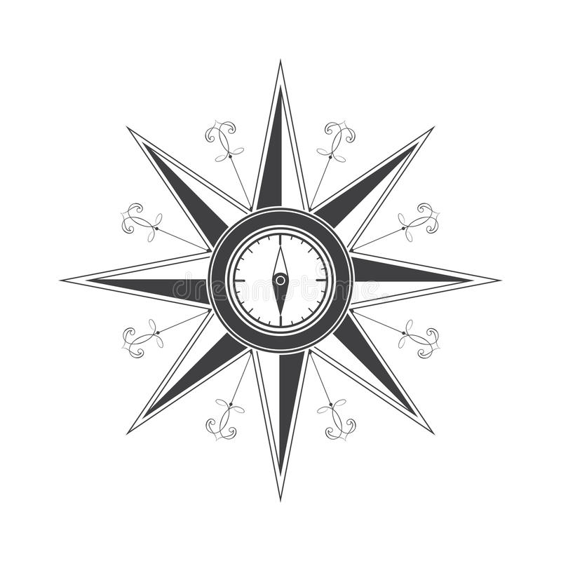 Simple compass rose (wind rose) in the style of historical maps. Clear shapes stock illustration