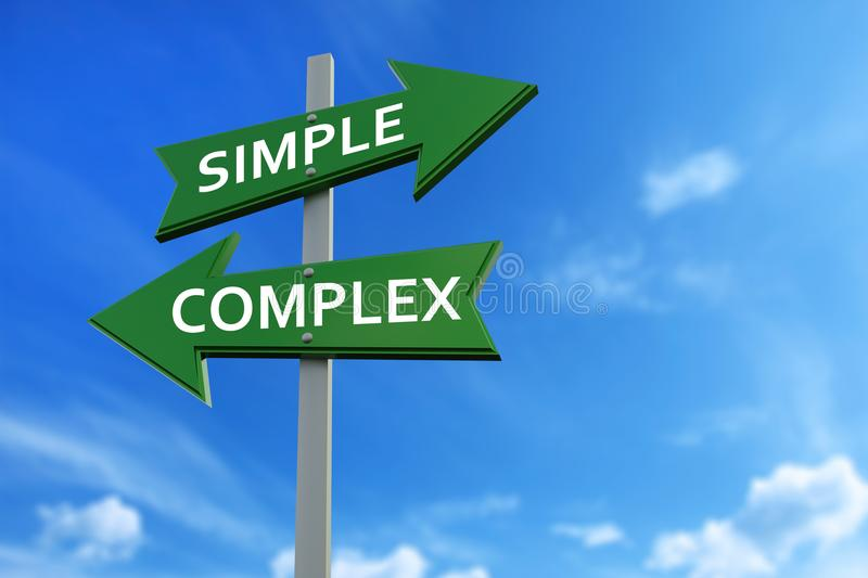 Simple and complex arrows opposite directions. Arrows pointing two opposite directions towards simple and complex stock illustration