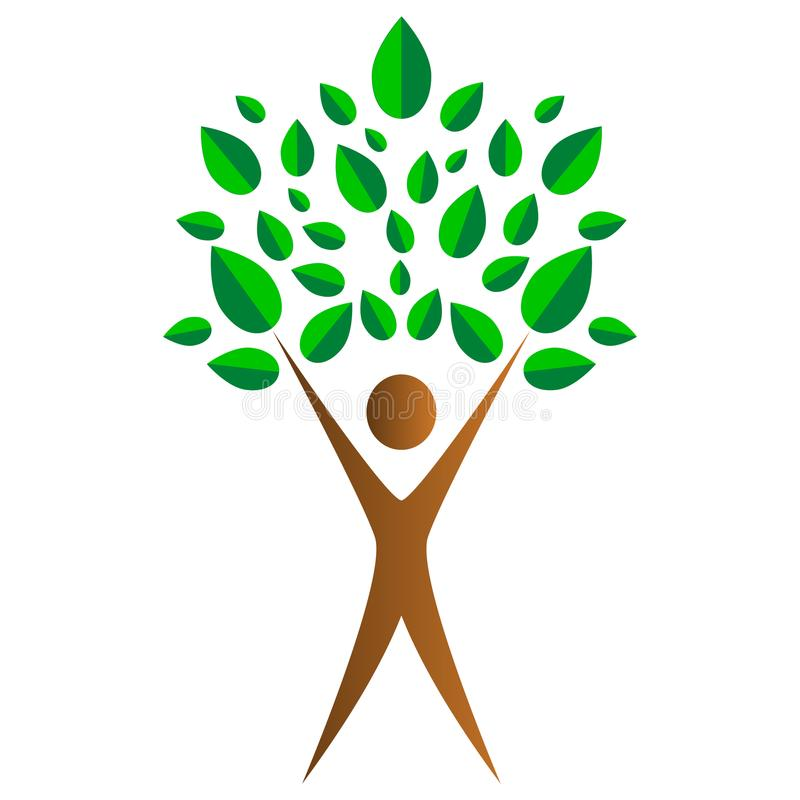A simple concept of human success in the form of a tree. On a white background vector illustration