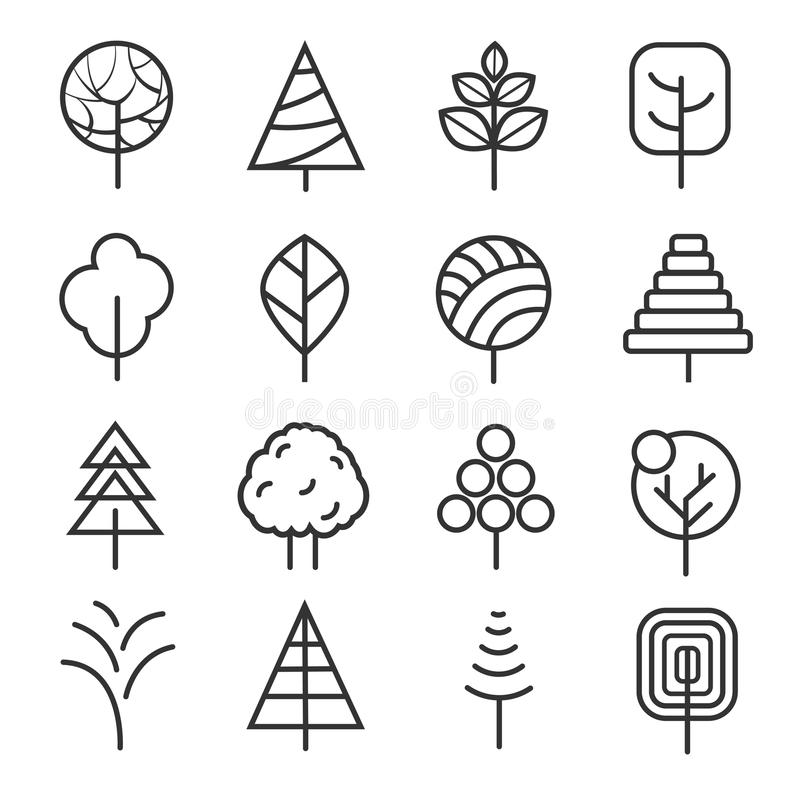 Contour Line Drawing Leaves : Simple contour lines trees vector nature plants and thin