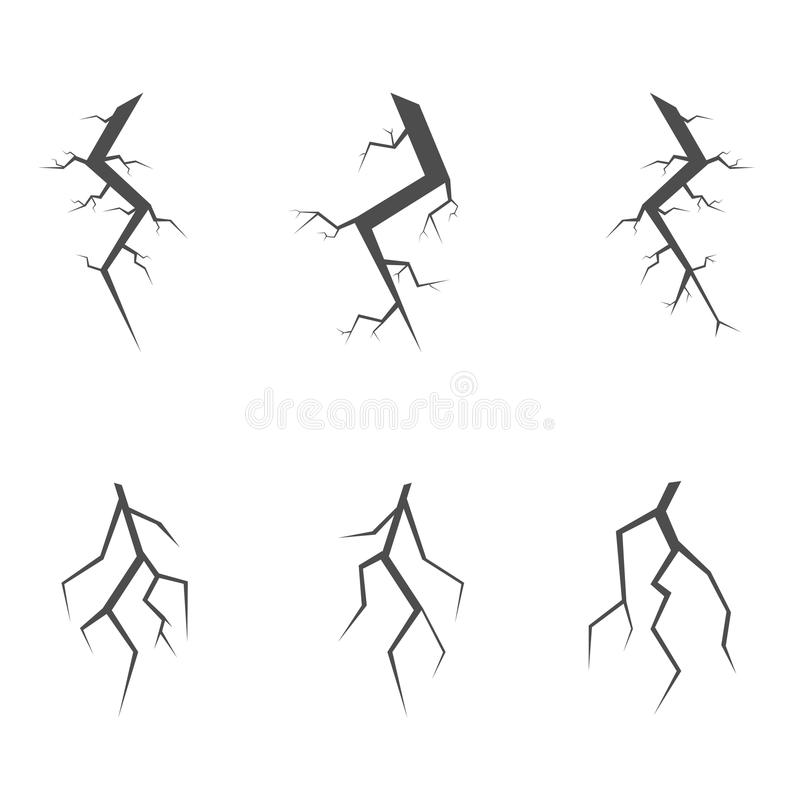 Simple crack set stock illustration