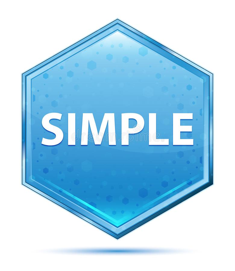 Simple crystal blue hexagon button. Simple Isolated on crystal blue hexagon button stock illustration