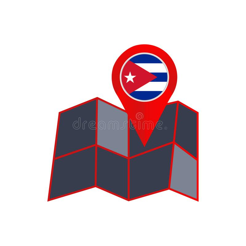Simple Cuba map pins are isolated with country flags.  vector illustration