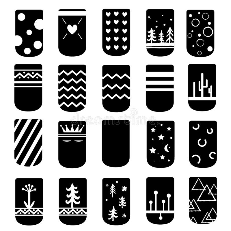 Simple But Cute Ideas For Nail Art Design Vector Black And