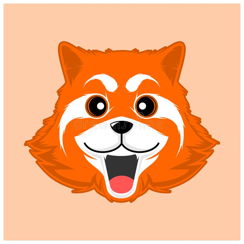 Simple cute red panda vector. Smiling red panda vector image vector illustration