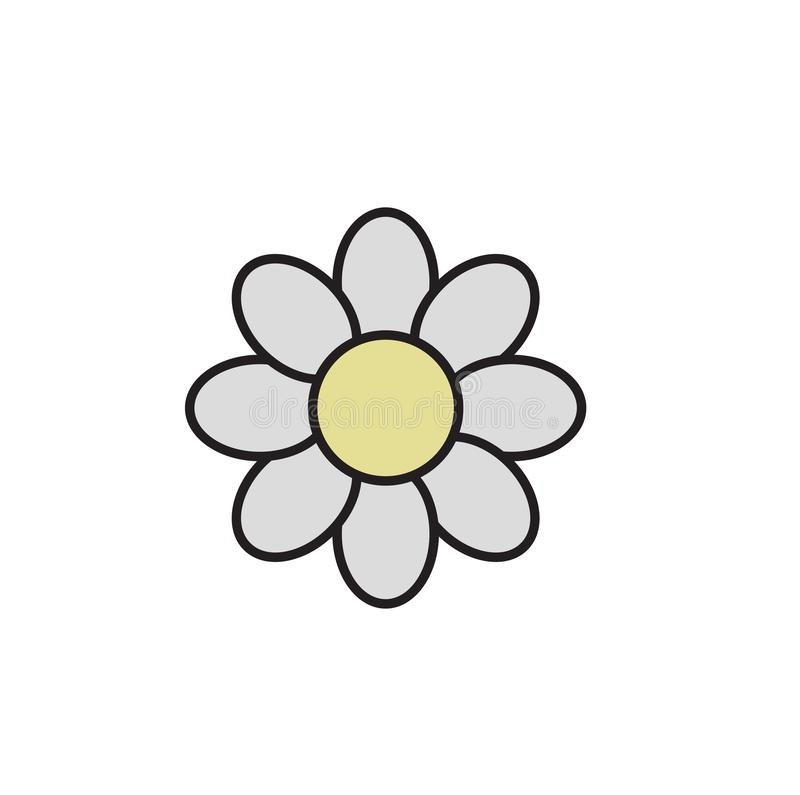 Simple daisy chamomile. Camomile icon. Cartoon design icon. Flat vector illustration. Isolated on white background. stock illustration