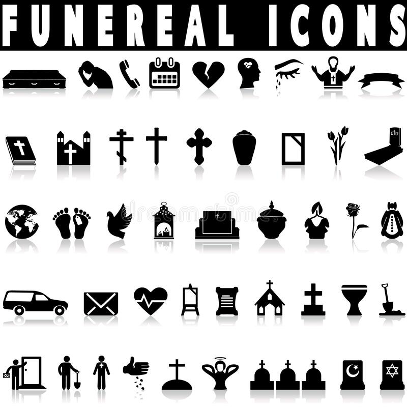 Simple death and funeral icons set stock photos