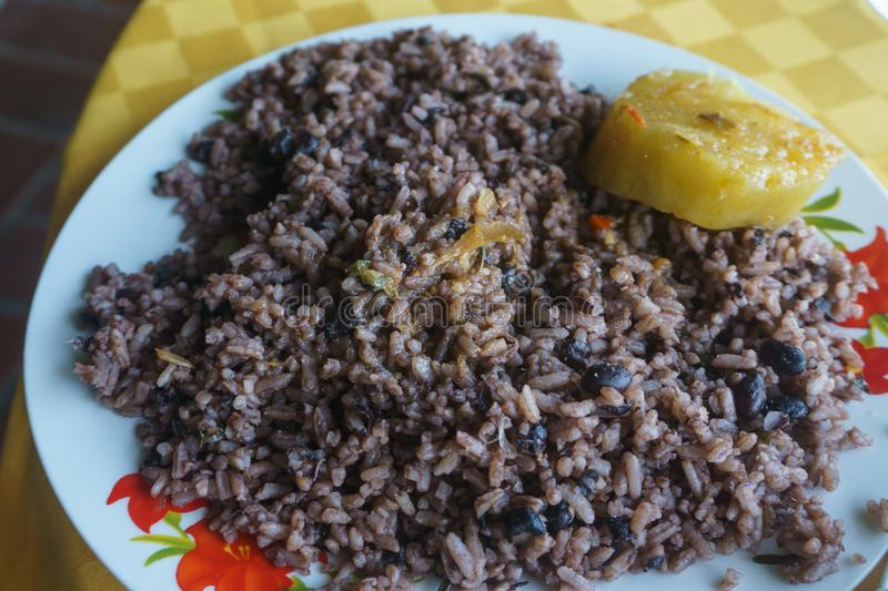 Congri, Rice with beans, a typical dish of Cuban food. Simple but delicious dish of rice with fried beans and Congri, typical Cuban dish stock photos