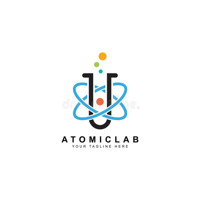 Science lab logo, illustration of atomic nucleus vector design stock illustration