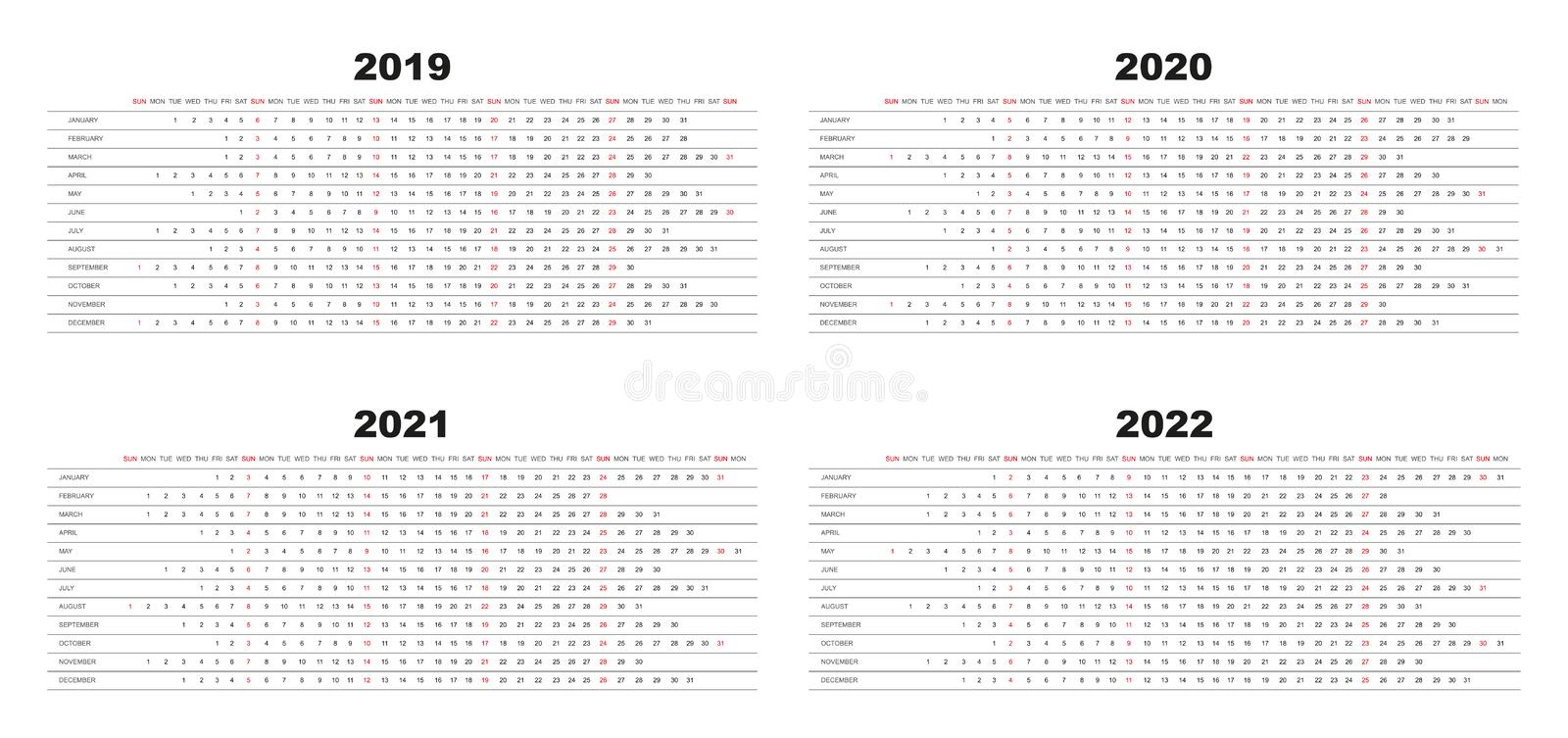Simple Design Calendar 2019, 2020, 2021,2022 with white background royalty free illustration