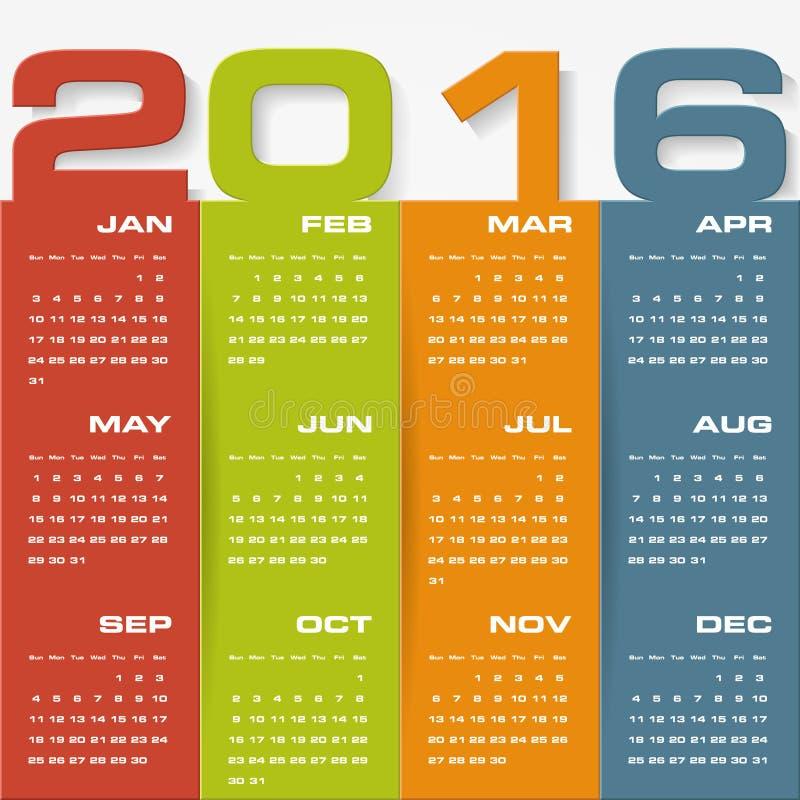 Simple design calendar 2016 year vector design template. 12 mounts from January-December 2016 stock illustration