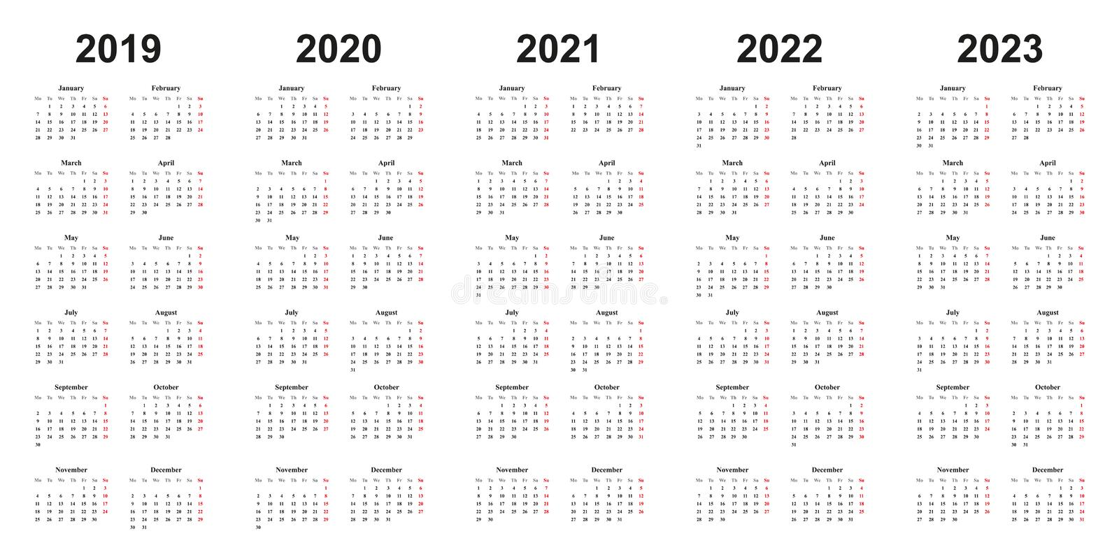 2016 2022 2023 Calendar.Calendar Template Set For 2018 2019 2020 2021 2022 2023 2024 2025 2026 And 2027 Years In One Vector File Stock Vector Illustration Of Isolated Grid 101934802