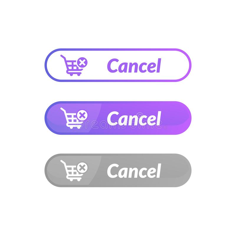 Simple design of cancel order button. online shop icon material. Design, action, add, apps, banner, basket, business, buy, cart, checkout, click, computer royalty free illustration