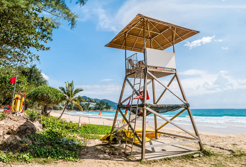 Simple design of lifeguard station on cloudy blue sky and Andaman sea in background, world famous travel location ,Surin beach. Phuket ,Thailand royalty free stock photos