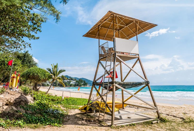 Simple design of lifeguard station on cloudy blue sky and Andaman sea in background, world famous travel location ,Surin beach. Phuket ,Thailand royalty free stock photo