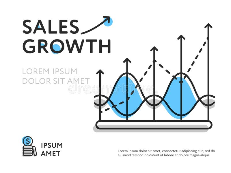 Simple design of representing sales increase. Infographic flat design with increasing chart line showing sales growth on white background royalty free illustration