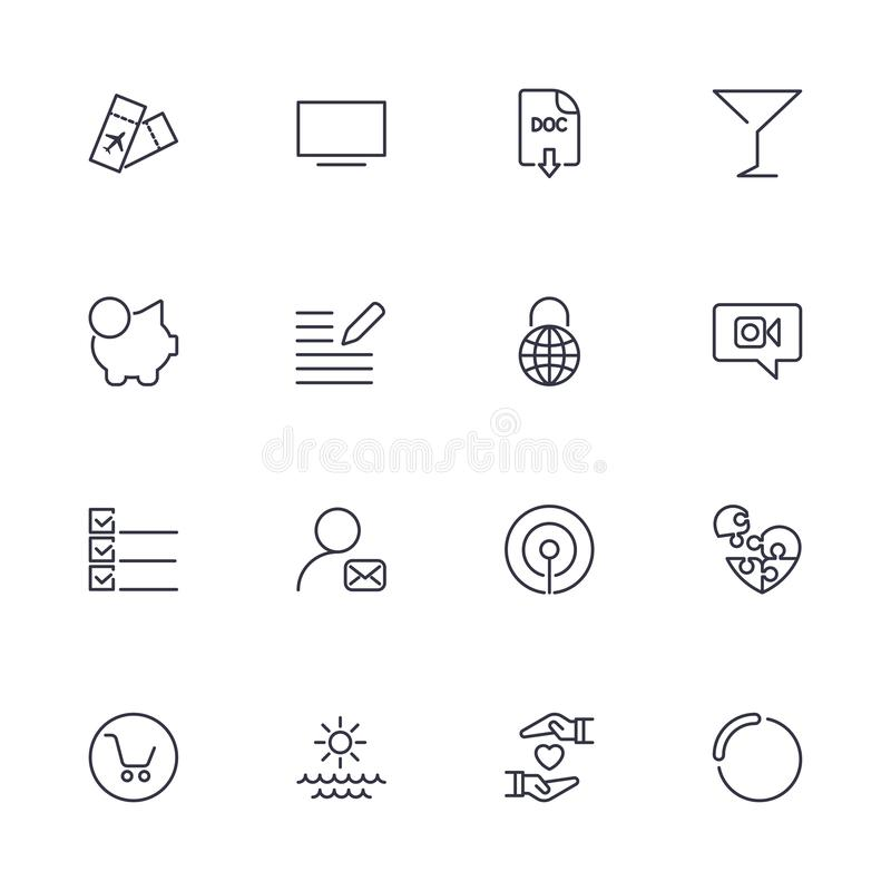 Simple different icons set. Universal icons to use for web and mobile. UI set of basic stock illustration