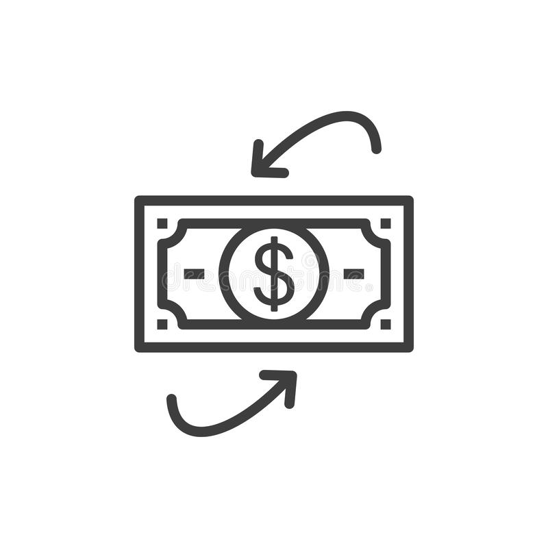 Simple dollars flow isolated Graphic line vector illustration. editable Style in EPS 10 business concept. Outline dollars flow graphic vector icon. isolated royalty free illustration