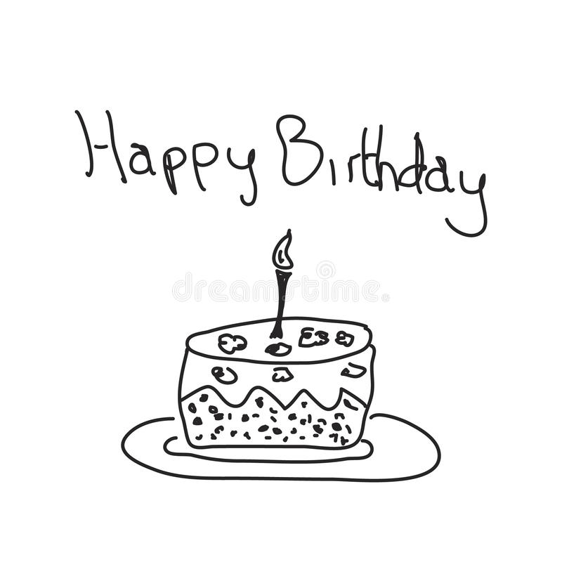 Simple Doodle Of A Birthday Cake Stock Vector Illustration of