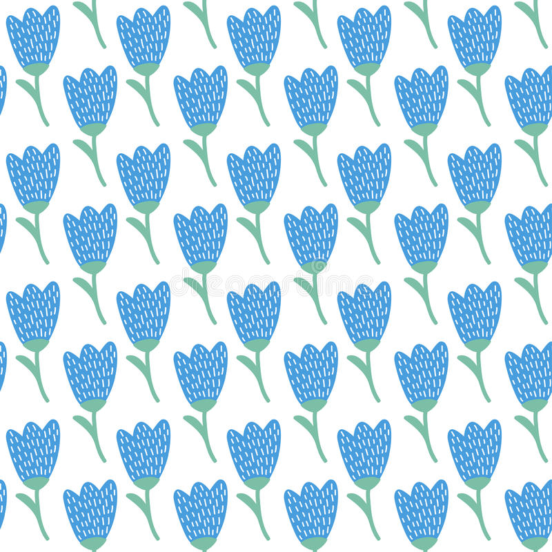 Simple doodle blue tulip pattern. Cute flower seamless background. Summer wallpaper. stock illustration