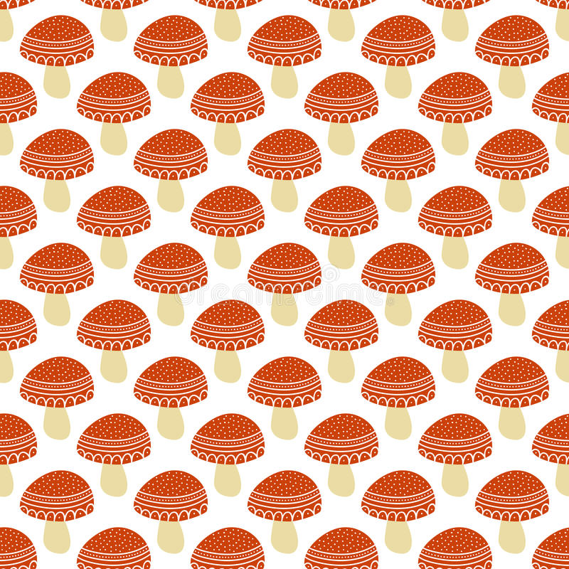 Simple doodle cute amanita pattern. Fly agaric hand drawn seamless background. vector illustration