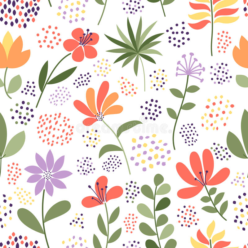Simple doodle flower and dots pattern. Vector illustration. The elegant template for fashion prints. Simple doodle flower and dots pattern. Seamless cute stock illustration
