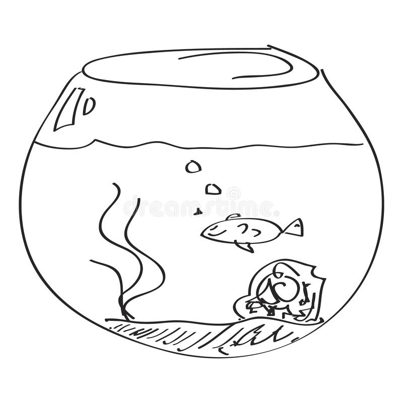Simple doodle of a goldfish bowl. Simple hand drawn doodle of a goldfish bowl stock illustration
