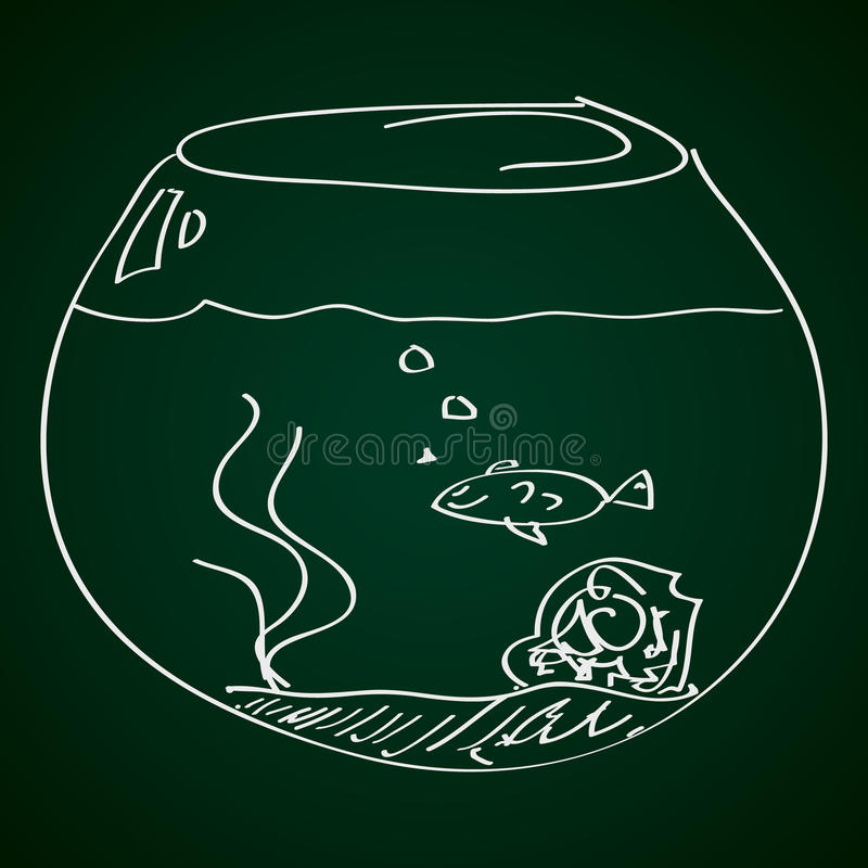 Simple doodle of a goldfish bowl. Simple hand drawn doodle of a goldfish bowl royalty free illustration