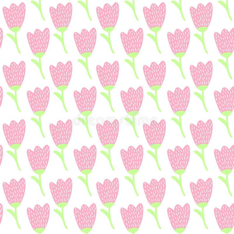 Download Simple Doodle Pink Tulip Pattern Cute Pastel Flower Seamless Background Summer Wallpaper