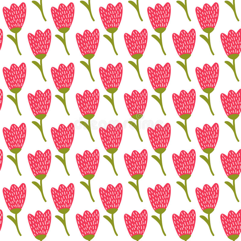 Simple doodle red tulip pattern. Cute flower seamless background. Summer wallpaper. royalty free illustration