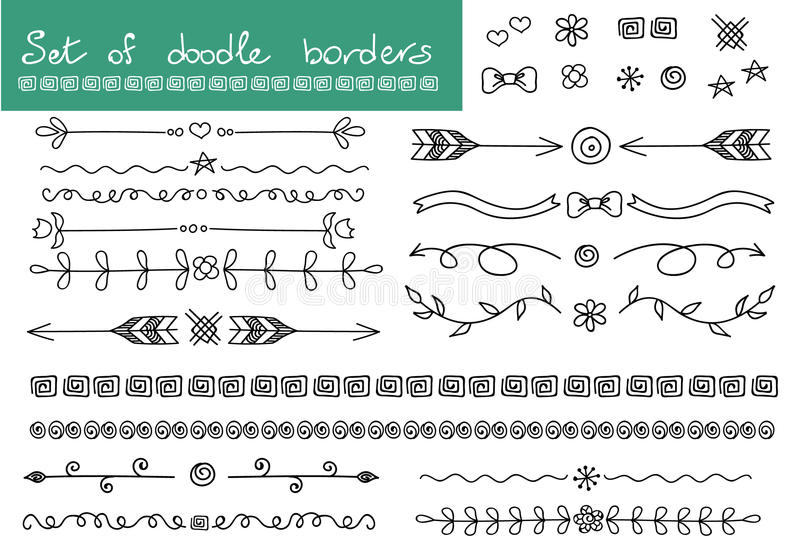 Simple doodle set. Borders and decoration elements. vector illustration