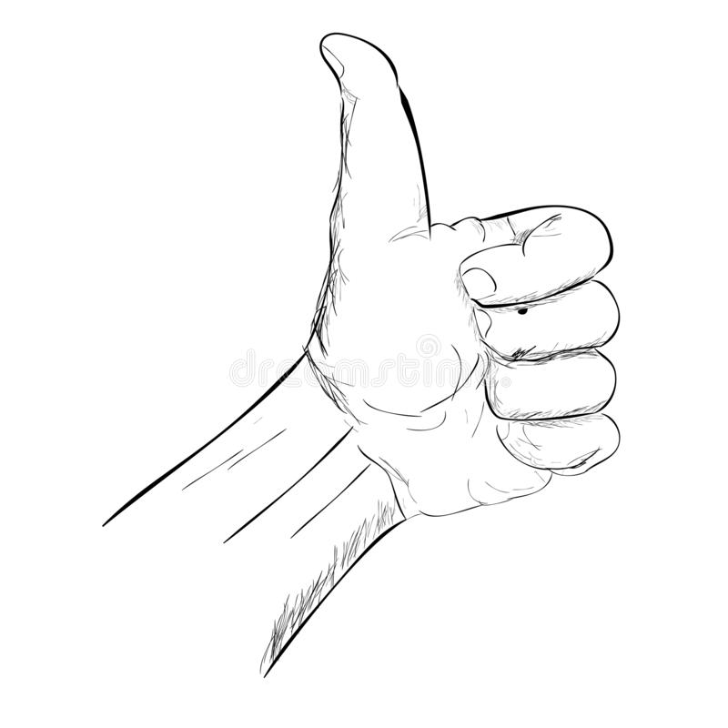 Simple Doodle Thumb Up Hand isolated on white stock illustration