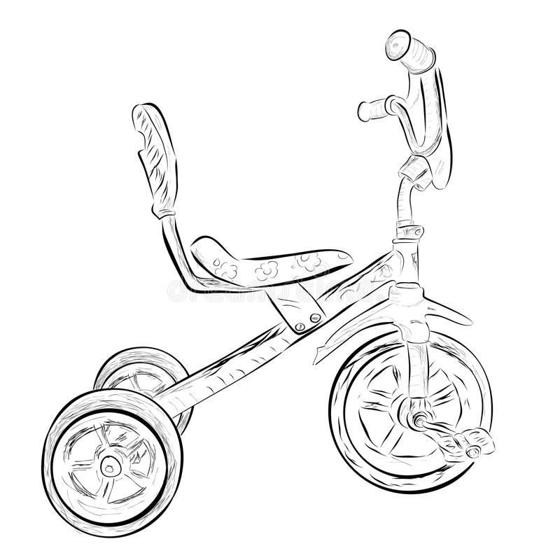 Simple doodle of tricycle, at white Background vector illustration