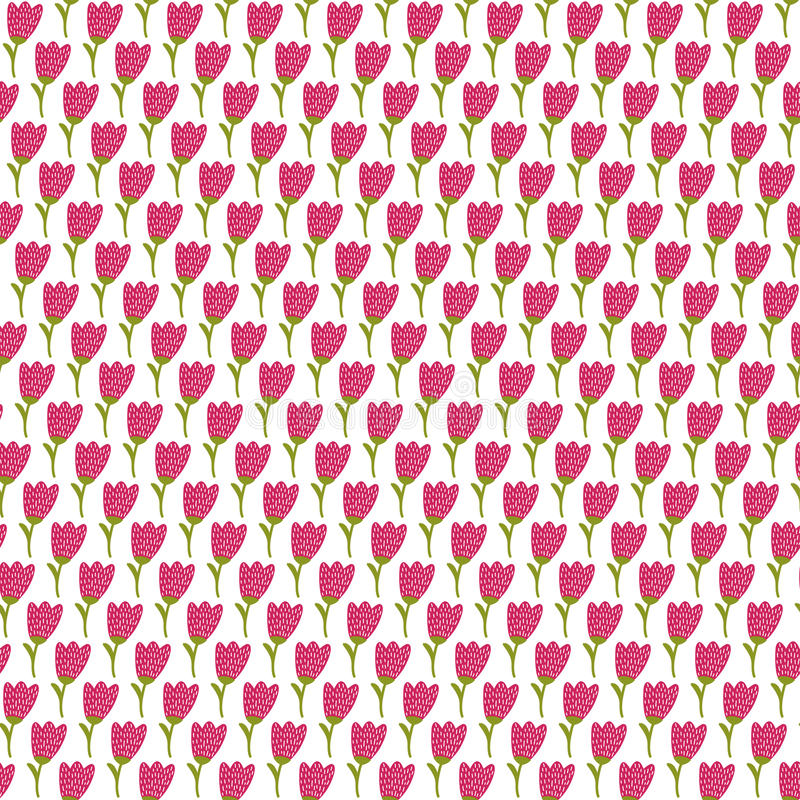 Simple doodle tulip pattern. Cute flower seamless background. Summer wallpaper. vector illustration